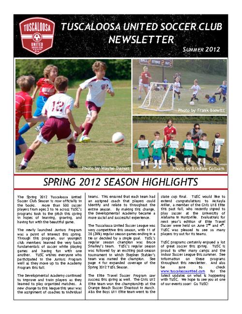 TUSC Newsletter Summer 2012