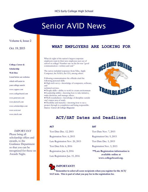 Senior Avid Newsletter #2 - 15