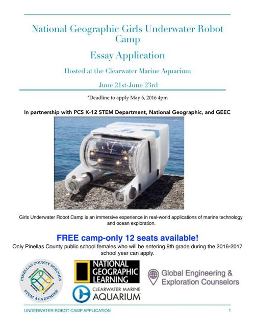 Girls Underwater Robot Camp-Pinellas County Schools 4-4-16