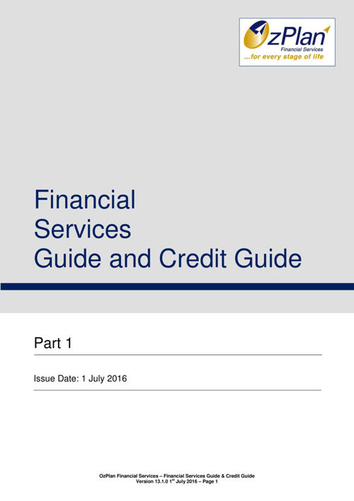 OzPlan FSG and Credit Guide Version 13.1.0 Glenn Setches