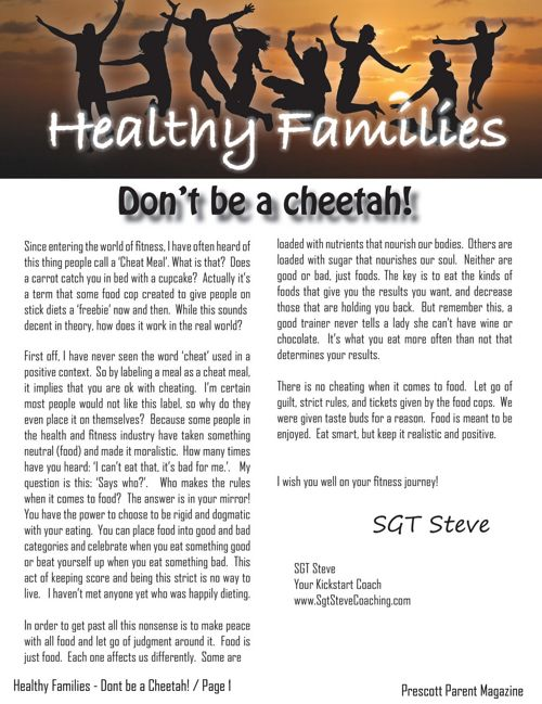 Prescott Parent Magazine - Don't be a Cheetah!