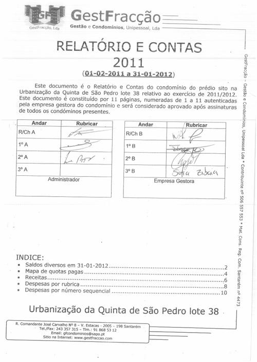 Relatorio de Contas 2011