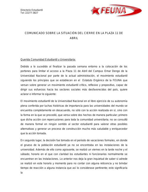 Comunicado Plaza 11 de Abril