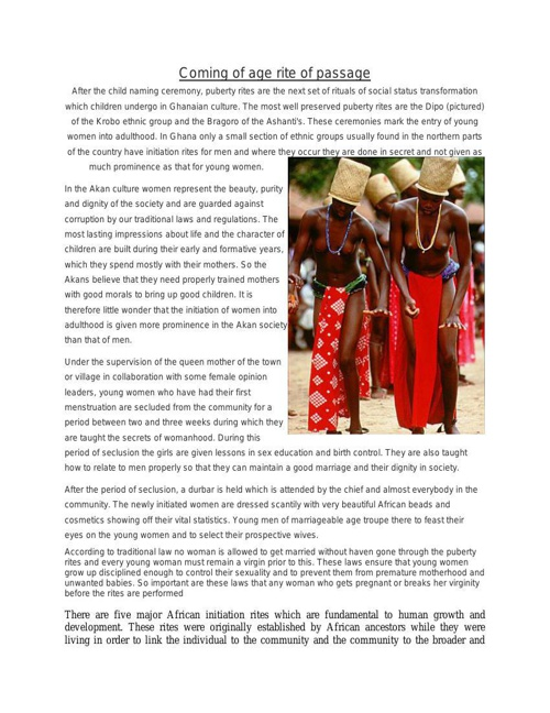 Coming Of Age Rite Of Passage In Africa - Copy
