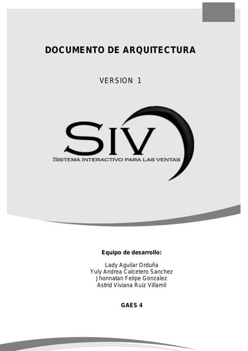 Documento de arquitectura SIV
