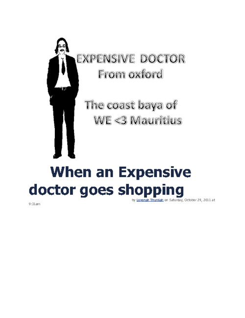 When an Expensive doctor goes shopping