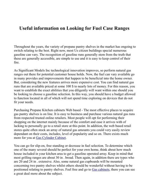 Useful information on Looking for Fuel Case Ranges