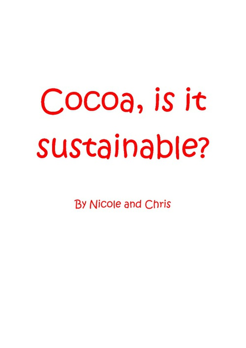 Cocoa is it sustainable?