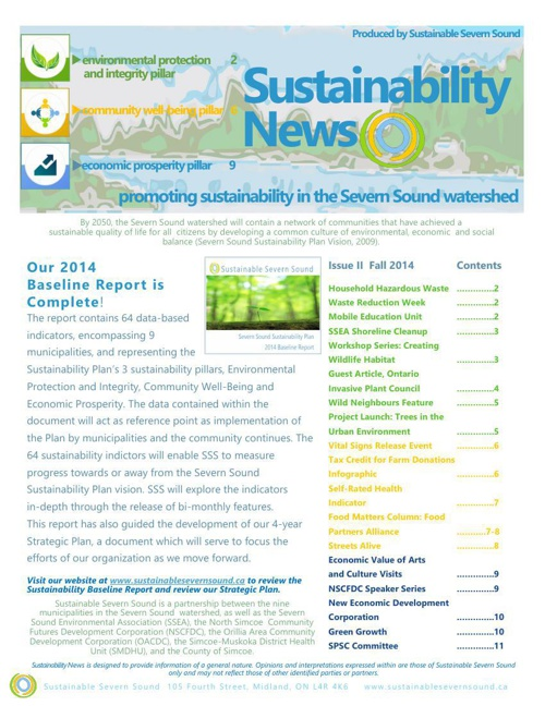 Sustainable Severn Sound: Fall 2014 Newsletter