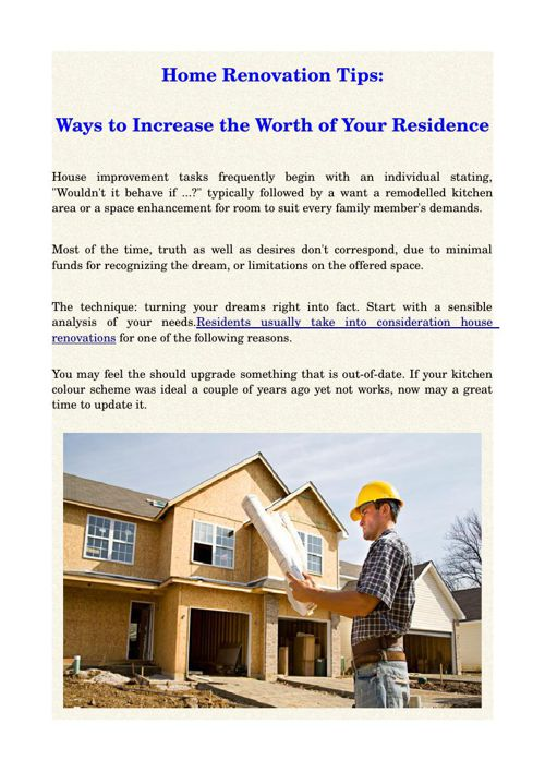 Home Renovation Tips:Ways to Increase the Worth of Your Residenc