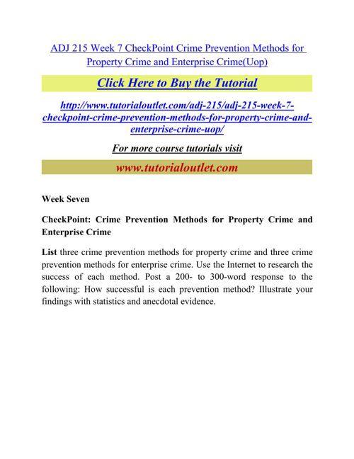 ADJ 215 Week 7 CheckPoint Crime Prevention Methods for Property