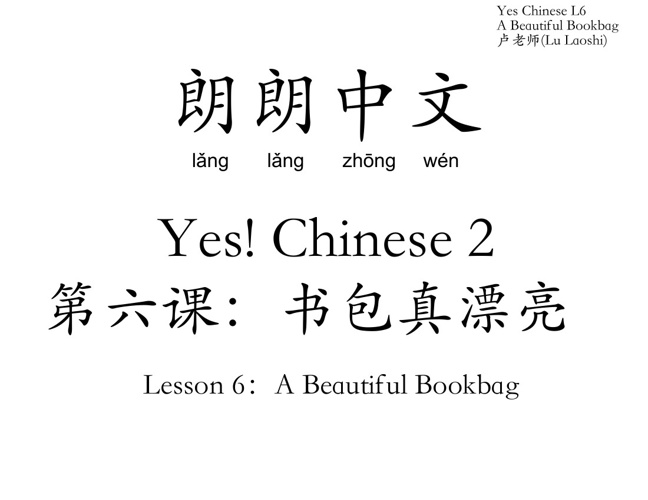 Yes Chinese2 -Lesson 6