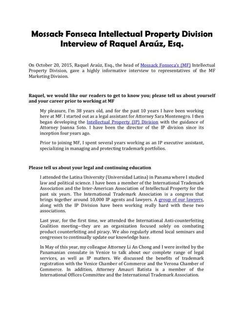 Mossack Fonseca Intellectual Property Division Interview of Raqu