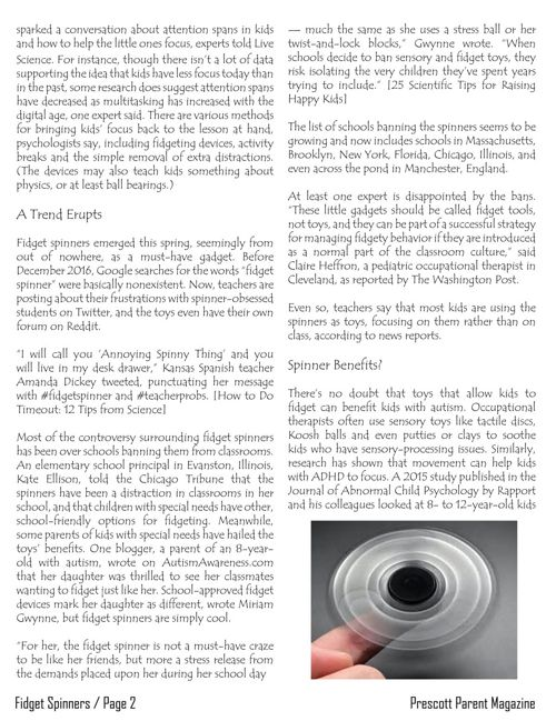 Prescott Parent Magazine - Fidget Spinners