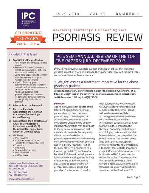 IPC Psoriasis Review - July 2014