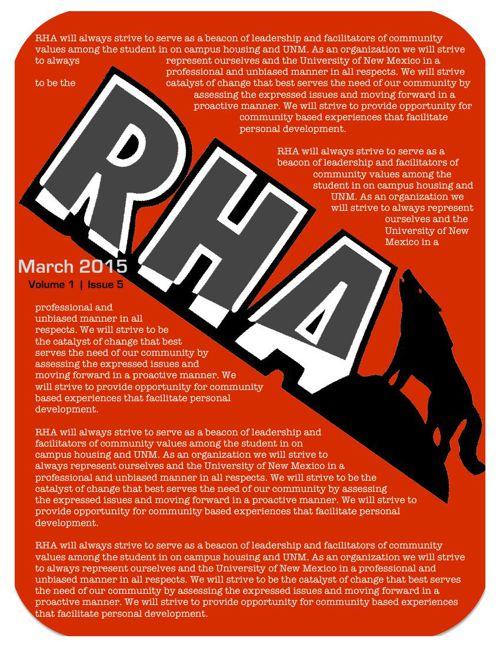 UNM RHA March 2015 Newsletter