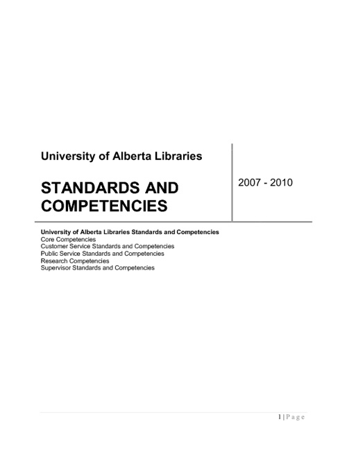 UAL Competencies and Standards 2011