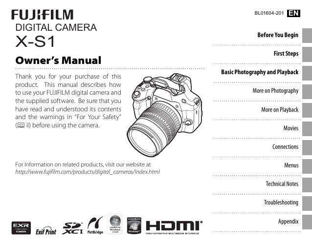 Fuji X-S1 Manual