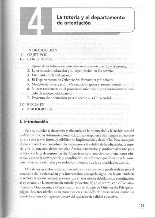 La tutoría y el departamento de orientación