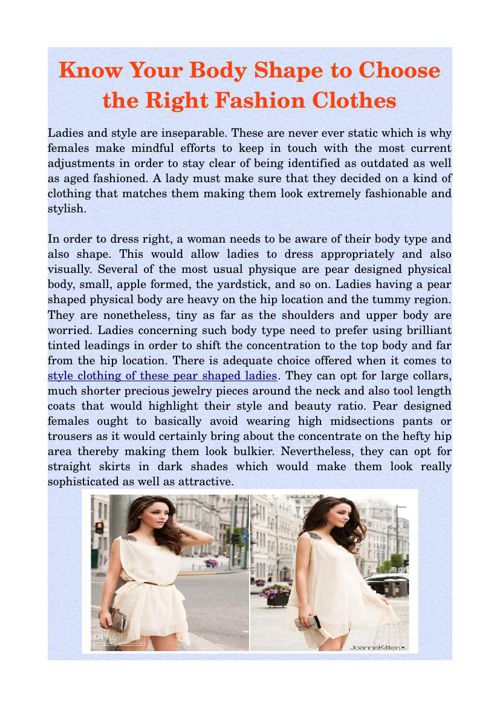 Know Your Body Shape to Choose the Right Fashion Clothes
