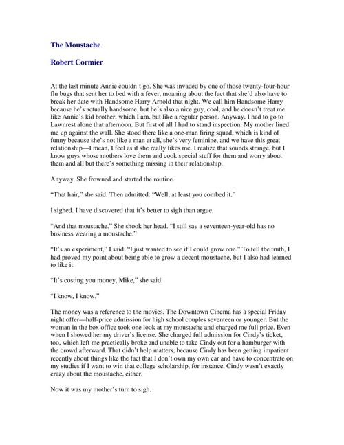 The Moustache - Robert Cormier