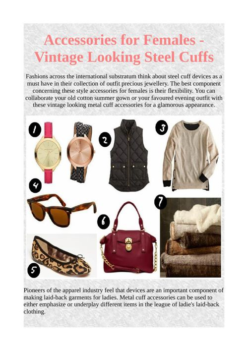 Accessories for Females - Vintage Looking Steel Cuffs