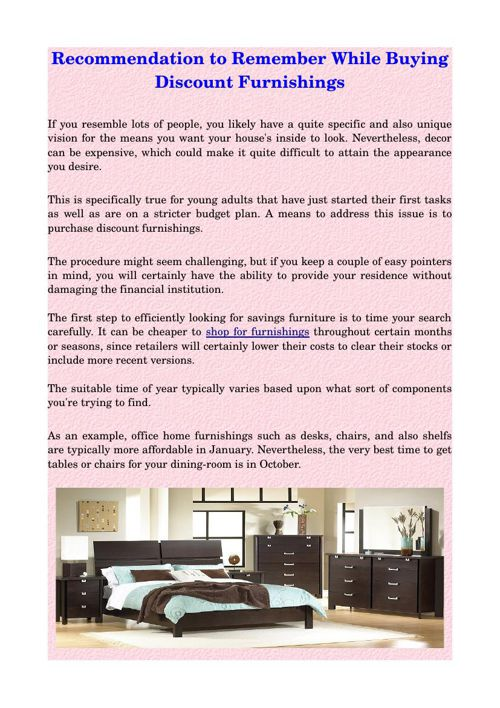 Recommendation to Remember While Buying Discount Furnishings