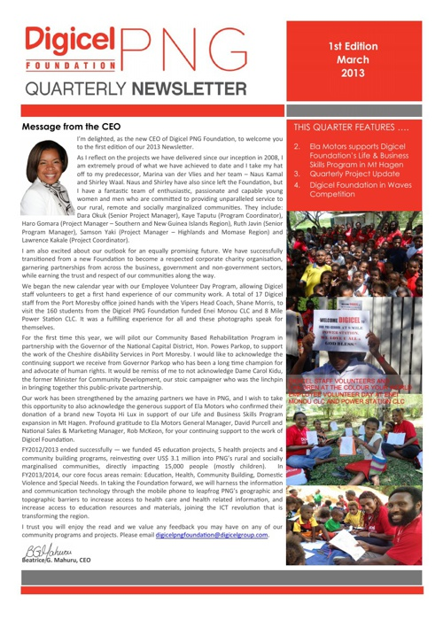 1st Quarterly Newsletter - March Edition