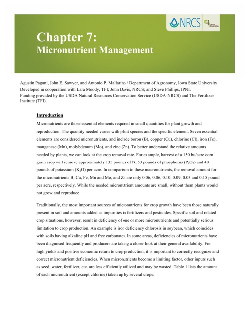 4R Learning Modules: Chapter 7 - Micronutrients Management