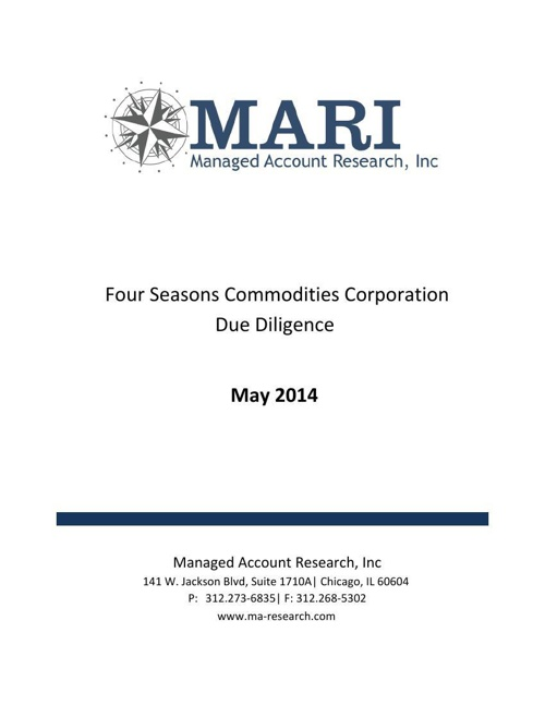MARI Four Seasons Due Diligence Book May 2014