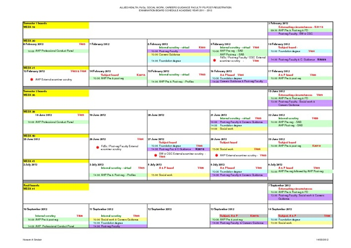 HSC Exam Board Timetable