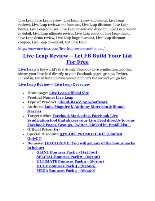 Live Leap Review-(Free) bonus and discount