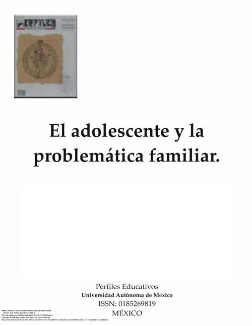 EL ADOLESCENTE Y LA PROBLEMATICA FAMILIAR