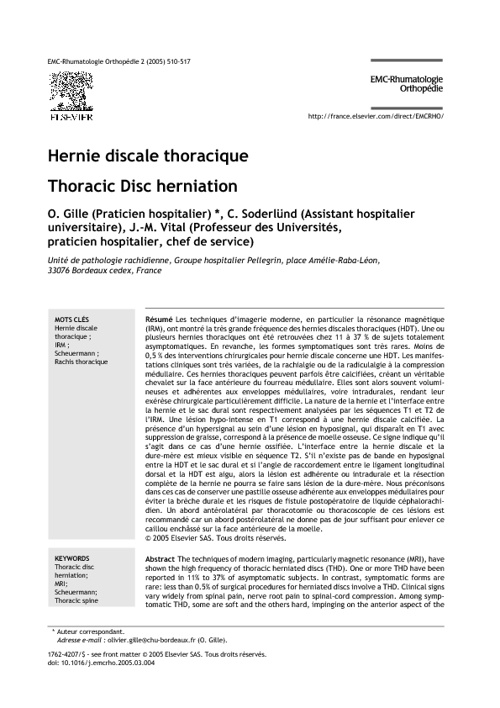 Hernie discale thoracique