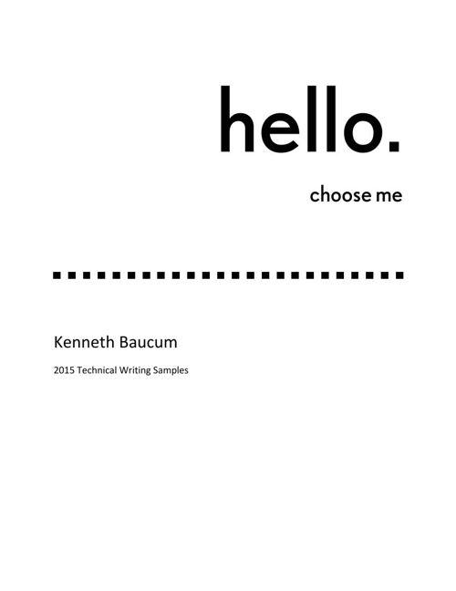 Kenneth Baucum Technical Writing Samples