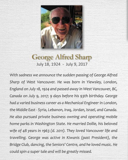 Memorial Card for George A. Sharp