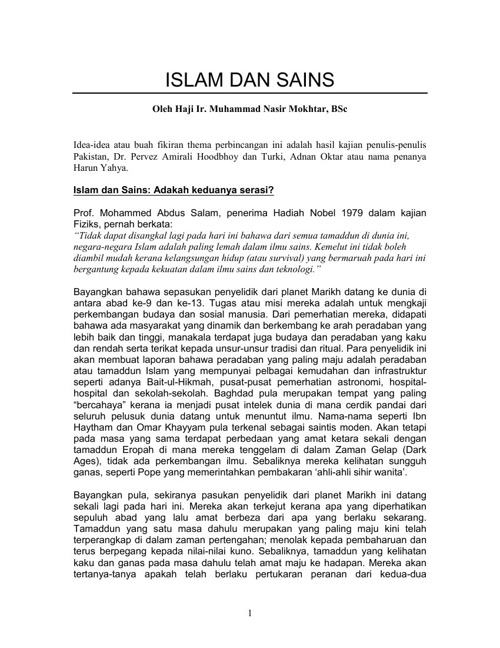 Nota Tam AA 209-ISLAM DAN SAINS