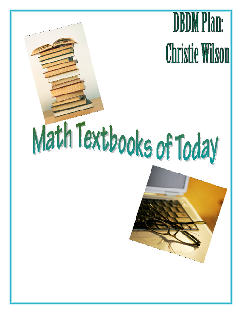 DBDM Plan- Math Textbooks of Today