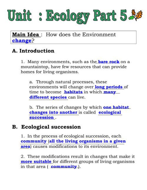 Ecology Part 5 Notes (filled in)