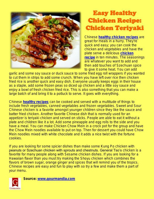Easy Healthy Chicken Recipe Chicken Teriyaki