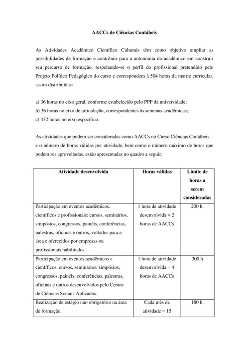 AACCs DO CURSO DE CIÊNCIAS CONTÁBEIS