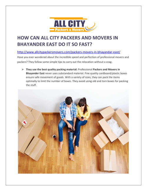 How Can All City Packers and Movers in Bhayander East Do It