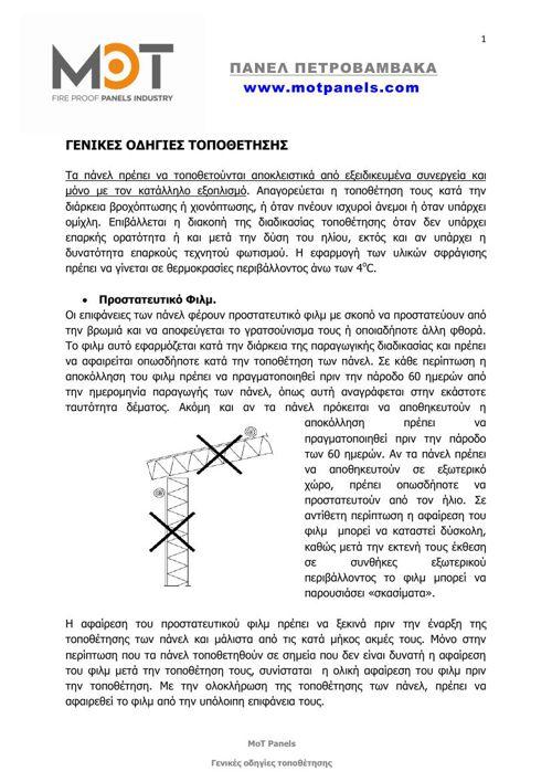 Οδηγίες Τοποθέτησης πάνελ πετροβάμβακα