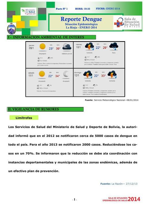 REPORTE DENGUE 1 - ENERO 2014