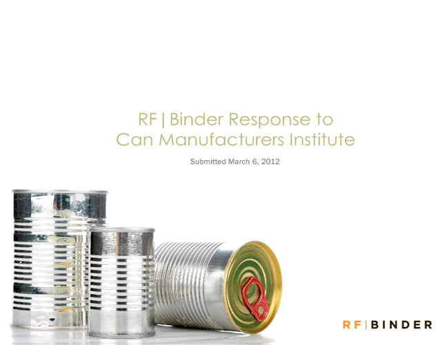 RF Binder Response to Can Manufacturers Institute March 6