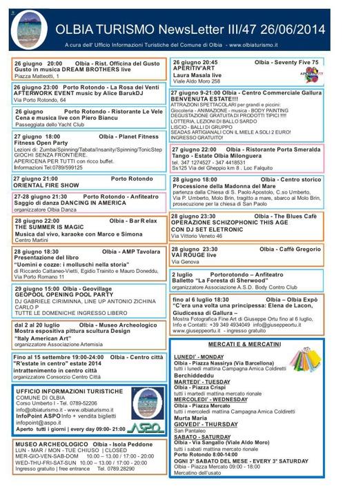 NEWSLETTER OLBIATURISMO 26062014