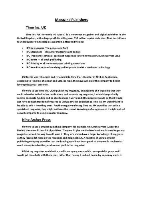Magazine Publishers Information