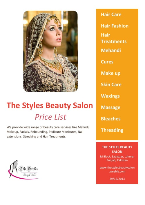 The Styles Beauty Salon Price List