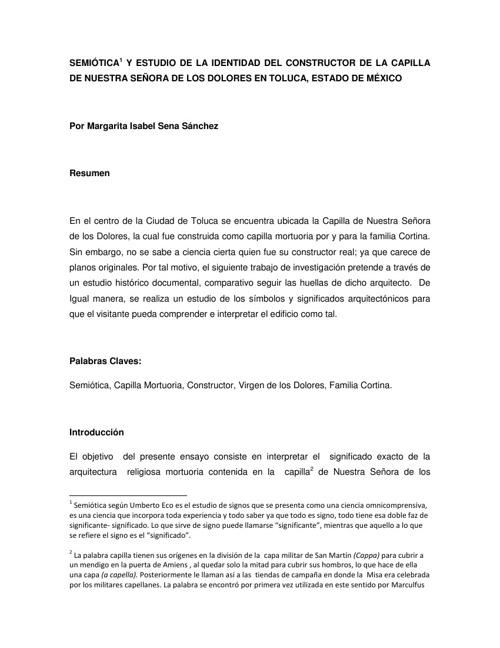 SEMIÓTICA  Y ESTUDIO DE LA IDENTIDAD DEL CONSTRUCTOR DE LA CAPIL