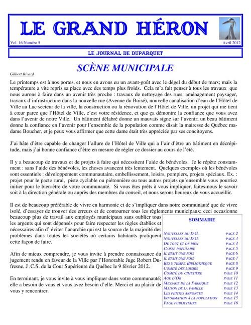 LE GRAND HÉRON - Avril 2012 - Vol. 16 Numéro 5
